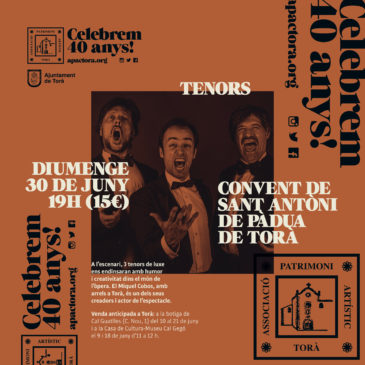 Tres tenors al Convent de Torà, no t'ho perdis!
